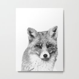 Black and White Fox Metal Print