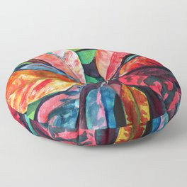 Colorful Tropical Leaves 2 Floor Pillow