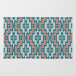 Tribal Diamond Pattern in Teal, Coral and Gray Rug