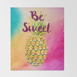 Watercolor Pineapple - Be Sweet Pink Gold Pineapple Throw Blanket