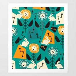 Mid-century pattern with bunnies Art Print