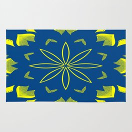 Maize & Blue Floral Mandala Rug