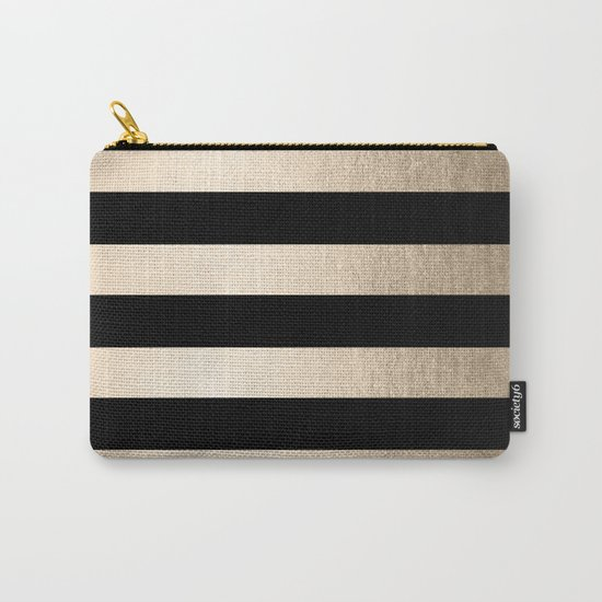 Simply Striped White Gold Sands on Midnight Black Carry-All Pouch