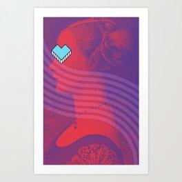 Renaissance Graphic Blue Heart Portrait Mix Art Print