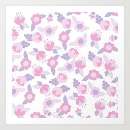 Hand painted pastel pink lavender modern floral Art Print