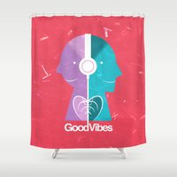 good vibes Shower Curtains featuring Good Vibes by Lorenzo Sabbatini