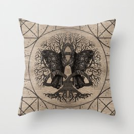 Tree of life - with ravens wooden texture Throw Pillow