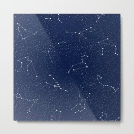 Zodiac Constellations with a Dark Blue Starry Sky Metal Print