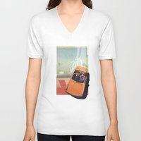 car V-neck T-shirts featuring Getaway Car | Collage by Julien Ulvoas