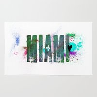 miami Area & Throw Rugs featuring Miami by Tonya Doughty