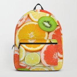 oranges ,grapefruit,kiwi, lemon and other fruits sliced Backpack