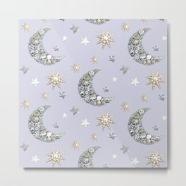 Vintage Button Moon and stars on grey Metal Print