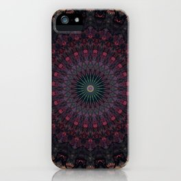 Mandala in dark red and brown tones iPhone Case