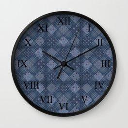Seamless jeans denim patchwork pattern background Wall Clock