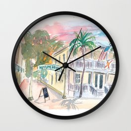 Southard St Square Key West Florida Street Scene Wall Clock