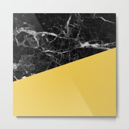 Black Marble and Primrose Yellow Color Metal Print