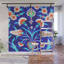 An Ottoman Iznik style floral design pottery polychrome, by Adam Asar, No 48L c Wall Mural