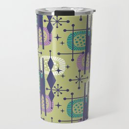 Retro Atomic Mid Century Pattern Blue Green Purple and Turquoise Travel Mug