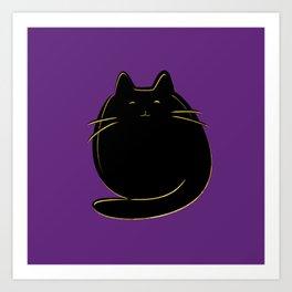Cute black and gold cat on purple Art Print