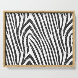 Black Glitter Zebra Stripes Serving Tray