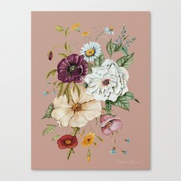 Colorful Wildflower Bouquet on Pink Canvas Print