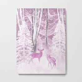 Winter Fawns in Rose Metal Print