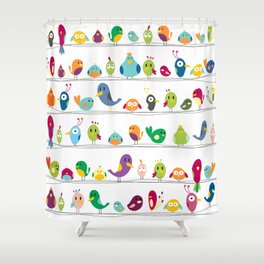 the birds are sitting and gazing... Shower Curtain
