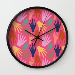 Minimalist Hands in Coral Wall Clock