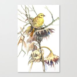 Yellowhammer and Sunflower, bird design, light brown yellow room art Canvas Print