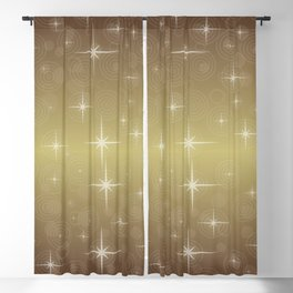 Gold Christmas With Stars Blackout Curtain