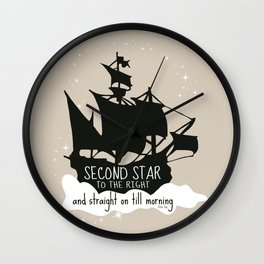 Second star to the right and straight on till morning - Peter Pan Inspired Art Print  Wall Clock