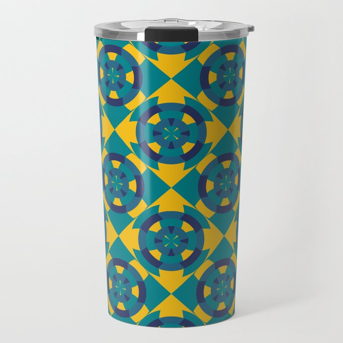 Simple geometric boat helm in blue and yellow Travel Mug