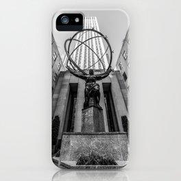 The Atlas New York Urban Artwork Black and White iPhone Case