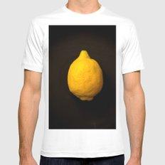 Yellow Lemon White MEDIUM Mens Fitted Tee
