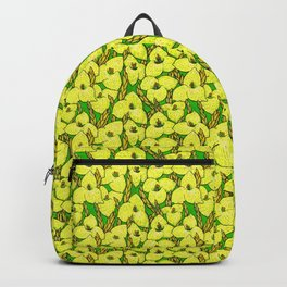 Puya Flowers, Floral Pattern, Green Yellow Backpack