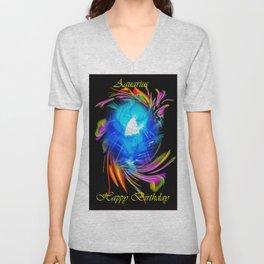 Zodiac sign Aquarius  Happy Birthday Unisex V-Neck