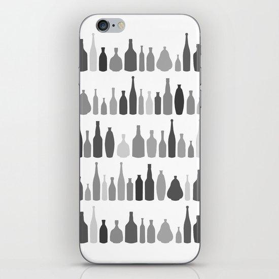 Bottles Black and White on White iPhone Skin