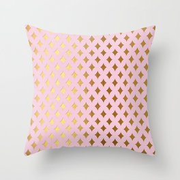 Queenlike - pink and gold elegant quatrefoil ornament pattern Throw Pillow