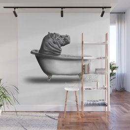 Hippo in Bath Wall Mural
