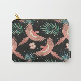 Pink macaw parrots on the starry night sky Carry-All Pouch