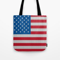 American Flag - knitted Tote Bag