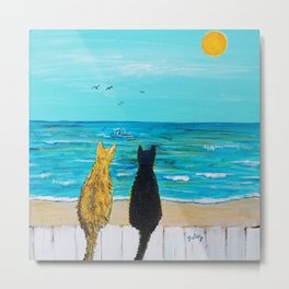 Seaside Cats Metal Print