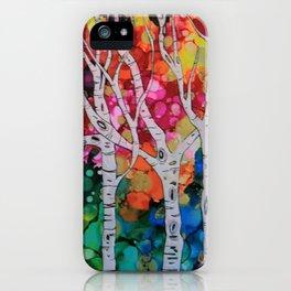 """Rainbow Birch Trees"" iPhone Case"
