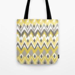 Aztec Tribal Yellow Gray iKat Inspired Pattern Design Tote Bag