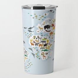 Cartoon animal world map for children and kids, Animals from all over the world, back to school Travel Mug