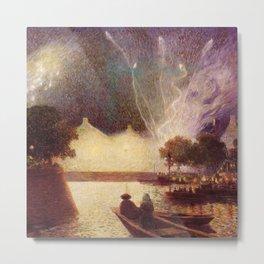 Fireworks over the Port landscape painting by Ferdinand Du Puigaudeau Metal Print