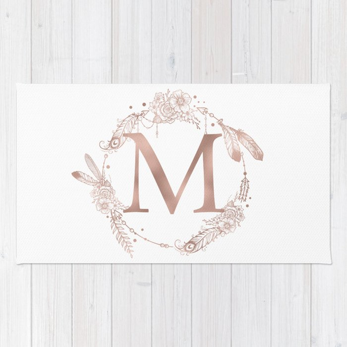 Letter M Rose Gold Pink Initial Monogram Rug