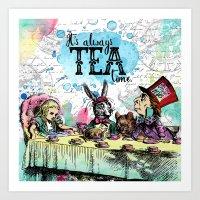 Alice in Wonderland - Tea Time Art Print