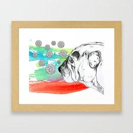 mind reading dog Framed Art Print