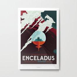 Enceladus - NASA Space Travel Poster Metal Print